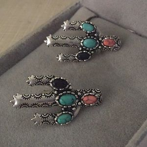 Jus tb turquoise howlite stainless earrings
